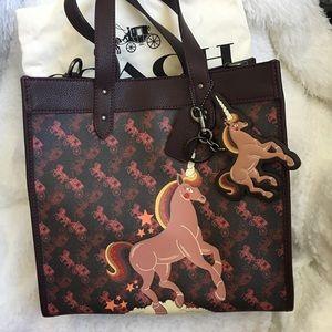 Coach unicorn field tote with unicorn bag charm